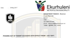 Ekurhuleni Municipality Phasing out of tenants accounts from 1 July 2017 pic