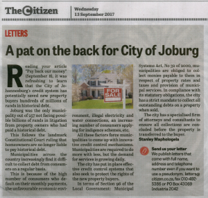 COJ Letter to the Editor of The Citizen